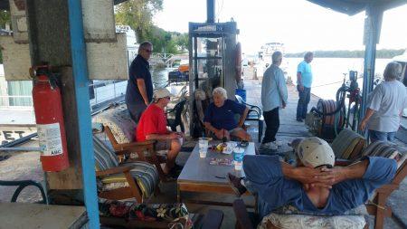 Chatting with Fern Hopkins at Hoppies Marina