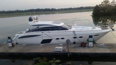 The Princess V62 at the dock