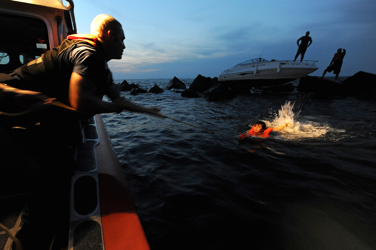 Coast Guard rescue during an abandon ship situation